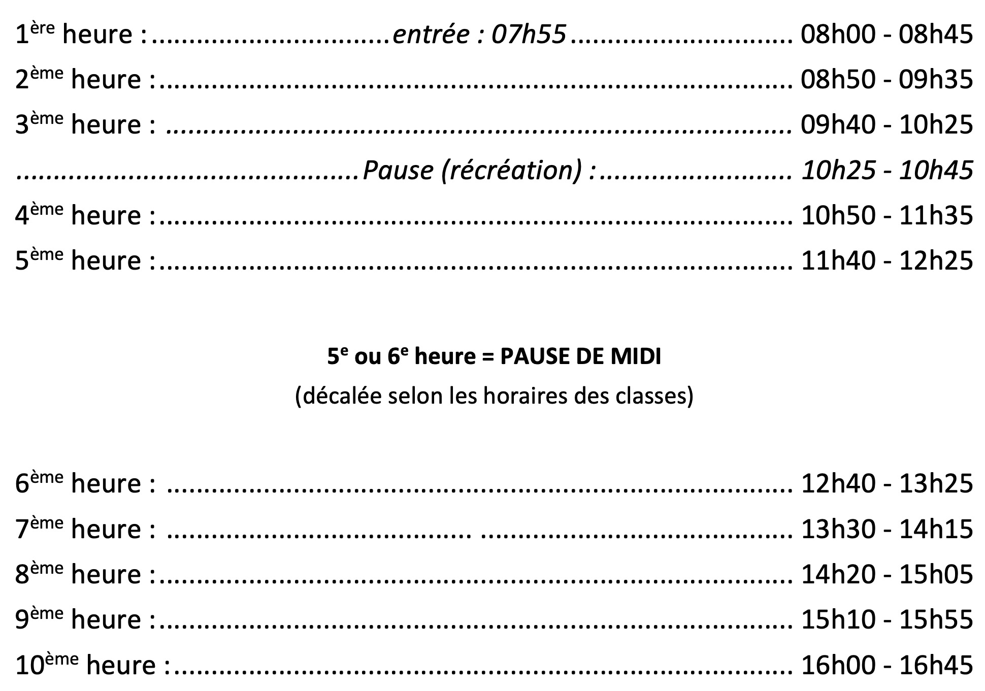 horaire cours